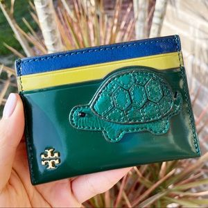 Tory Burch card holder green blue turtle